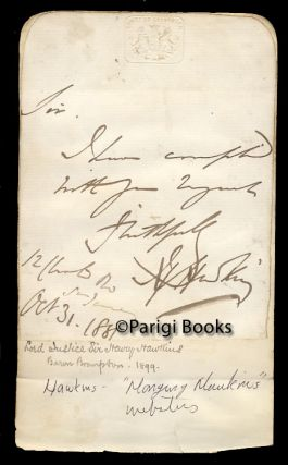 Two Short Autograph Letters Signed. Sir Henry Hawkins, Lord John Manners