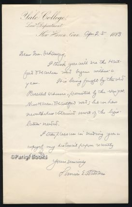 Autograph Letter Signed Regarding the Hartford & Harlem Railroad. Simeon Eben Baldwin
