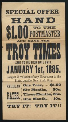 Advertisement Flyer for The Troy Times. State of New York - City of Troy