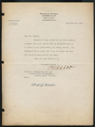 Typed Letter Signed Addressed to Robert S. Holmes, President of the Florida Forum and Assembly....