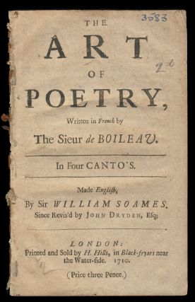 The Art of Poetry, Written in French by the Sieur de Boileau. In Four Canto's. Made English, by...