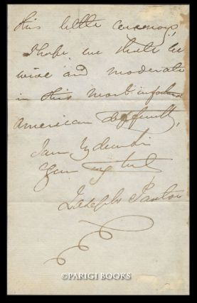 Autograph Letter Signed Regarding London's Reform Club. [with] Engraved Portrait of Joseph Paxton.