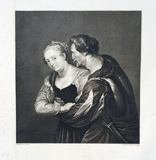 La contadina e il soldato. Etching from a Painting by Peter Paul Rubens. Cesare Ferreri