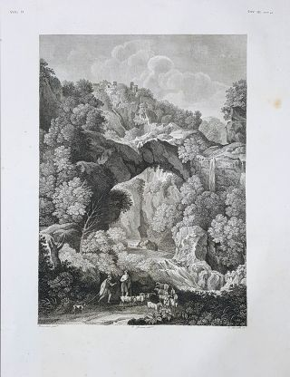 Paese. Etching from a Painting by Gaspard Dughet also Known as Gaspard Poussin. Tito Boselli, Enrico Gonin.