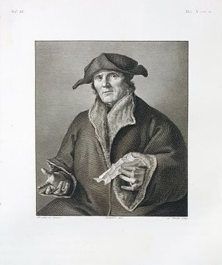 Giovanni Calvino. Etching from a Painting by Hans Holbein. Paolo Toschi, Lorenzo Metalli