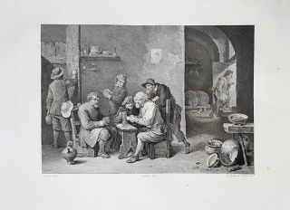 Taverna con giuocatori. Etching from a Painting by David Teniers. Paolo Toschi, Gaetano Silvani,...