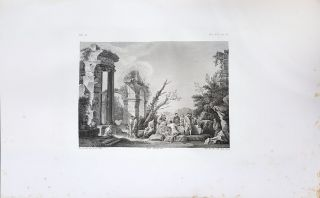 Paese con rovine. Etching from a Painting by Giovan Paolo Pannini. Tito Boselli, Giuseppe Franzè.