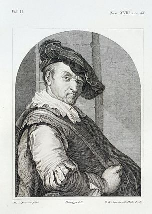Il suonatore di ghironda. Etching from a Painting by Frans van Mieris. C. Edoardo Sonne,...