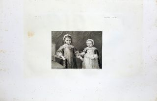 Amedeo e Luisa Cristina Principi di Savoia-Carignano. Etching from a Painting by Anthony van...