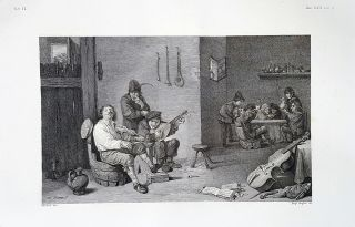 Interno di una taverna. Etching from a Painting by David Teniers the Younger. Delfino Delfini