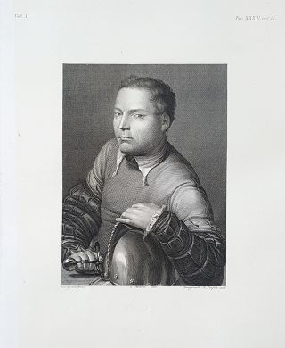 Giovane guerriero. Etching from a Painting by Giorgio Barbarelli di Castelfranco. Gustavo...