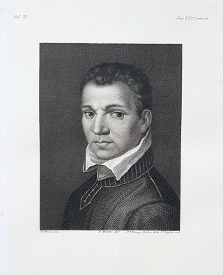 Ritratto ignoto. Etching from a Painting by Hans Holbein. S. P. Lorenzi, Antonio Perfetti, Lorenzo Metalli.