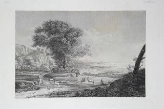 Paese e marina. Etching from a Painting by Claude Lorrain. Tito Boselli, Paolo Toschi, Enrico Gonin.