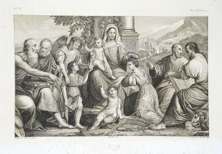 La Vergine col Bambino. Etching from a Painting by Jacopo Palma il Seniore. Gerolamo Nardini,...