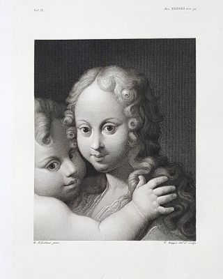 Teste di putti. Etching from a Painting by Bartolommeo Schidone o Schedone. Tommaso Raggio.