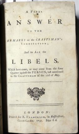 A Collection of Ten 18th Century English Political Pamphlets Bound in Single Volume.