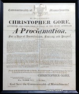 A Proclamation, for a Day of Humiliation, Fasting and Prayer Broadside by Governor Christopher...