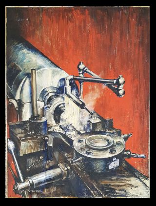 Micro-Speed Turret Lathe Original Gouache Painting