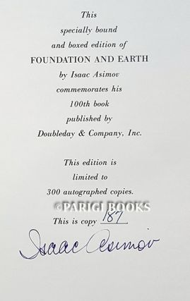 Foundation and Earth. (Leather Bound Signed Limited Edition in Slipcase).