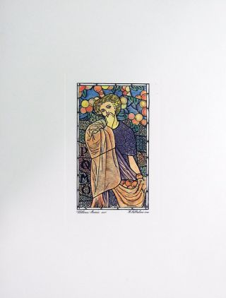 Stained Glass Window Arts and Crafts Lithograph.