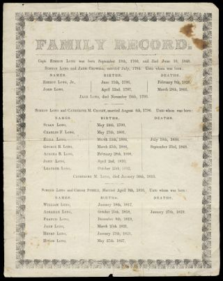 Family Record of [Captain] Simeon Long Printed Broadside. Genealogy - Family Records - Nantucket...