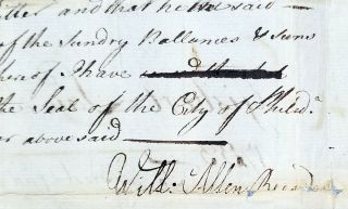 1749 Document Signed by Philadelphia Recorder William Allen Regarding Men's and Women's Saddles.