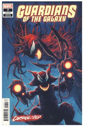 Set of 4 Carnage Red Marvel Variant Edition Covers. (Captain America #12, Guardians of the Galaxy...
