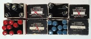 Set of 27 Vintage Parker Mechanical Pencil Lead Cartridges in the Original Containers and Boxes.
